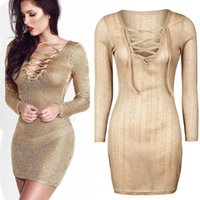 Wholesale Tight Short Evening Dresses - Slim Tight Bodycon Lace Up V-Neck Beach Short Mini Party Dress Long Sleeve Sexy see through Pullover Evening Cocktail Prom Dresses Clubwear