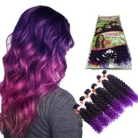 Wholesale Synthetic Weft Wholesale - New coming ombre purple brown Bohemian Jerry Curly Synthetic Hair Extensions Ombre Hair Weaving Weft 6 Packs Lot free shipping for women