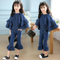 Wholesale Wholesale Good Jeans - New Girls Jeans Outfits Flare Sleeve Top + Jeans Pant 2Pcs Outfits Kids Girl Spring Summer Clothing Sets Good Quality Size 120-160