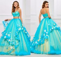 Wholesale Turquoise Coral Red Flowers - blue and yellow Princess Quinceanera Dresses Two pieces masquerade ball gown flower Dresses turquoise quinceanera dresses 2017 Vestido