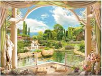 tv wanddekor großhandel-Großhandels-Customized 3D-Fototapete 3D Wandmalereien Tapeten europäische Gartenlandschaft römische Säule 3 d Fernseheinstellungswand Papier Wohnkultur