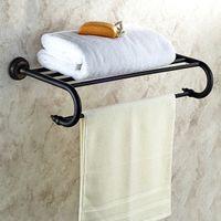 Wholesale Towel Holder Bathroom Single Bar - New Classical Vintage Aluminum Alloy Single Towel Bar Towel Rack Wall-mounted Bathroom Towel Holder Bronze Finished Bathroom Accessories