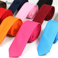 Wholesale Narrow Tie Width - Wholesale- Casual fashion new Men's tie solid color Linen cotton Necktie 5cm width Skinny Narrow Neck ties for Party Red Pink 10 colors