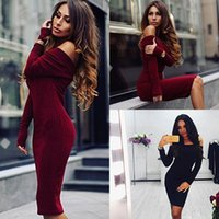 Wholesale Womens Long Sweater Dress - Retail and wholesale 2017 New Fashion Womens Sexy Autumn Winter Long Sleeve Knit Slash Neck Bodycon Sweater Mini Dress Knitwear CL101