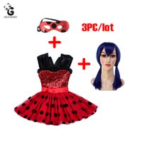 Wholesale Wigs For Halloween Costumes - Miraculous Girls Dresses Kids Flash Dress For Girls Mask Cosplay Costume Halloween Girls Ladybug Marinette Wig Child Clothes