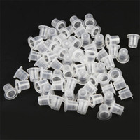 Petits Pots En Plastique En Gros Pas Cher-Wholesale-Small Size 100 pcs / set Plastic Tattoo Encre Tasses Caps Pots Pigment Supplies Art Body Tattoo Tools Vente chaude