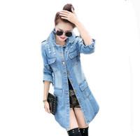 Wholesale Jaquetas Jeans - Wholesale- #3002 Long denim jacket women 2016 Chaqueta mujer Ripped jeans jacket women Ladies coats Jaquetas feminina Jaqueta jeans Vintage