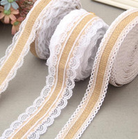 20M Natural Jute Burlap Hessian Lace Ribbon Roll + White Lace Vintage Wedding Decoration Party Decorations Ремесла Декоративные G697