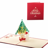 Wholesale Three Dimensional Greeting Cards - (10Pieces  Lot ) New Arrival Three -Dimensional Snowman Christmas Greeting Card Christmas Tree New Year Blessing Card With Envelope