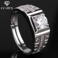 Mens Rings Wholesale 925 Sterling Silver Engagement White Gold CZ Anel de diamante Jóias de moda Bridegroom Wedding Party Party CC696