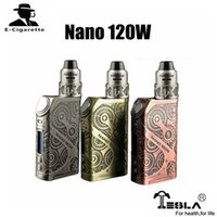 Wholesale Evic Starter - 100% Original Tesla Nano 120W TC Starter Kit with ARROW RDTA Tank Electronic Cigarettes Box Mod VS Joyetech EVIC PRIMO 200W