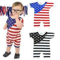 Wholesale Wholesale American Flag Shirts - INS Baby American Flag Rompers Printed Stripe Jumpsuits Boys Summer Clothes Short T-shirt Toddler Newborn Suits Girls Boutique Clothing