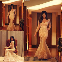 Wholesale Sweetheart Train - long sleeve mermaid wedding dresses bridal gowns lace sweetheart illusion back applique tulle sweep train dress