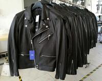 Wholesale Denim Jacket Men Leather Sleeve - 2017 Top quality original quality slp style luxury kanye west genuine leather 100% HIGH quality sheepskin zipper jackets SLIM denim jackets