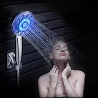 Wholesale Bathroom Over Head - 3 Colors LED Shower Head Over-head Bathroom Shower Hand Hold ABS Palstic Sprayer Pommeau Douch Shower Head Chuveiro Douchekop