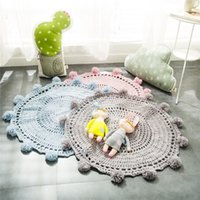 Wholesale Pink Room Mats - Free Shipping Crochet Rug Round Rug for kids bedroom decoration Rugs and Carpets Home Decor Baby Blanket Game Mat Pink 80cm