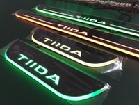 Wholesale nissan door sill plate - 4pcs Nissan Tiida Colorful LED Moving Door Sill Scuff Plate Nissan Welcome light Pedal Car Styling Accessories For nissan tiida