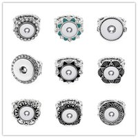 Wholesale Diy Rhinstone - 10 styles DIY Rhinstone Plated Press Snap Buttons Spring Button Crystal Rings Fit 12mm Choker Buttons Ring Snaps Jewelry