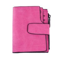 Wholesale Snap Clutches - S5Q Women's Vintage Casual Snap Fastener Zipper Matte Wallet Short Clutch Wallet AAAGKP