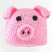 Wholesale Newborn Pig Hat - Novelty Knit Pink Pig Hat,Toboggan Beanie,Handmade Crochet Baby Boy Girl Animal Piggy Hat,Infant Winter Cap,Newborn Toddler Photography Prop