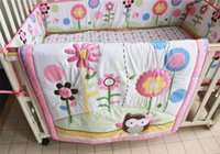 Wholesale Cot Set Pink - British Cot Bed Set Girl Crib Bedding Set 3PCS Cartoon Animal pink flowers Inc quilt bedcover bumper crib skirt