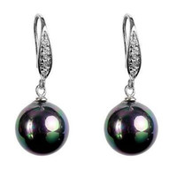 Wholesale Southsea Pearls Earrings - Crystal Dangle Black Multicolored Southsea Mother-of Shell Pearl Earring 12mm