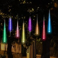 Wholesale Xmas Led Meteor - NEW LED Meteor Shower Rain Lights,Drop Icicle Snow Falling Raindrop 30cm 8 Tubes Waterproof Cascading lights for Wedding Xmas Home Decor MYY