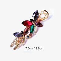 Wholesale Wholesale Hairpins - New Design Bridal Hair Jewelry Charm Gold Plated Crystal Butterfly Hair Clips Hairpin Wedding Hair Accessories For Women gift Wholesale