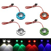 2Pcs Car Motorcycle LED Strobe Flash Attention Light Brake Tail Light Spotlights Fish Eye Lens Lampe Bleu / Vert / Rouge / Argent