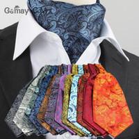 Wholesale Vintage Ascot Cravat - Luxury Men Vintage Polka Dot Wedding Formal Cravat Ascot Scrunch Self British style Gentleman Polyester Silk Scarves Neck Tie 22 colors