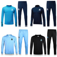 Wholesale Quick Tracks - new 2017 Olympic Marseille Tracksuit Soccer Jogging Football Tops Coat Pants Sports Training 16 17 18 Suit Men Adults OM Football Track Suit