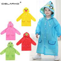 Wholesale Rain Ponchos For Kids - Wholesale- Children Poncho New Waterproof Kids Rain Coat For children Raincoat Rainwear Rainsuit Kids boy girl Animal Style Raincoat LYJ19