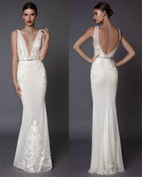 Wholesale Silk Embroidered Pictures - sexy sheath evening dresses 2017 muse berta bridal deep plunging v neckline embroidered bodice open low back sweep train
