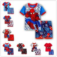 vêtements de nuit d'été pour enfants achat en gros de-Spiderman Boys Cartoon Pyjamas Costumes Enfants À Manches Courtes T-shirts + Shorts 2 pcs Ensembles Summer Kids Chemises De Nuit Sleepwear Infantile Bébé Homewear