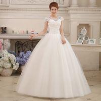 Wholesale Sequin Bra Dress Size 16 - Vestido De Noivas 2017 New Fashion Sweet Flowers Embroidery Crystal Wedding Dress Bra Luxury Princess Floor-length Wedding Gowns
