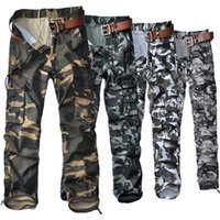Wholesale Men Casual Work Pants - Wholesale men's casual cargo pants military camo trousers solid size loose style multi pockets cotton absort sweat for work