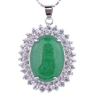 Wholesale wholesale jewelries - JP11 Teboer Jewelry 3pcs Wholesale Green Malaysia Jade Clear Rhinestones Oval Pendant Women Jewelries
