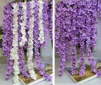 Wholesale Floral Wedding Arches - 200cm long artificial Hydrangea wisteria flower vines wedding arch flowers rattan marrige party Garlands Decoration Floral