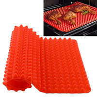 Bamboo square cooking pan - Red Pyramid Pan Nonstick Silicone Baking Mat Mould Cooking Mat Oven Baking Tray