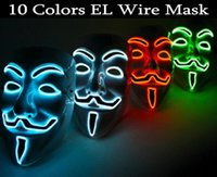 Wholesale Scary Decorations - Wholesale-2016 New EL wire EL MASK Vendetta Party Fashion V Cosplay Costume Guy Fawkes Anonymous mask for party Halloween scary decoration