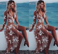 Wholesale Long Floral Prom Dress - Sexy Boho Evening Dresses V Neck 3 4 Long Sleeves Floral Appliques Tulle White Tan Beach Women's Dress Floor Length Illusion Prom Dresses
