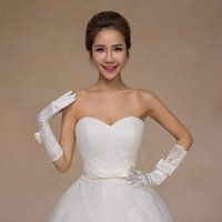 Wholesale Crystal Party Gloves - New Style Crystal Lace Bridal Glove Wedding Prom Party Costume Long Gloves Full Finger Below Elbow Length Ivory Color High Quality