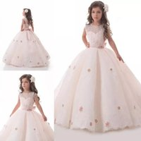 corsé rosa para niños al por mayor-Vestidos de niña de niña de flor rosa claro Princesa Corset Volver Vestidos de primera comunión para bodas Vestidos baratos Ropa formal de niños