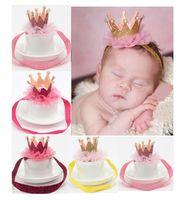 Wholesale Handmade Crown Baby - Handmade baby crown Headband shiny elastic hair band Festival Wedding accessories hair band hair tie applique with pearls rhinestone on sale