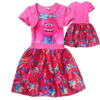 Wholesale Poppy Dress - Trolls clothes Cartoon Trolls baby girls dresses short sleeve children poppy skirts best price with top quality