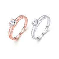 prinzessin braut-sets hochzeit ringe groihandel-Platin beschichtet / Rose Gold plattiert Zirkonia Bridal Engagement Ehering Set Princess Cut Channel Set elegante Frauen Schmuck