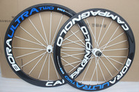 Wholesale Road Bike Decals - free shipping !!1 full carbon bike wheels 50mm 700C carbon wheelsets white blue decal carbon wheel Powerway R36 hubs