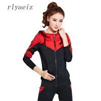Wholesale Sports Hoodie Set Piece - RLYAEIZ High Quality 2 Piece Set Women Sporting Suits 2017 Spring Casual Patchwork Color Hooded Hoodies + Pants Autumn Tracksuit