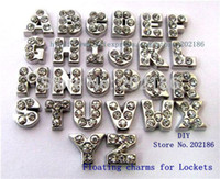 Wholesale full float - Wholesale- 26pcs A-Z Full rhinestone Floating letters Fit floating locket