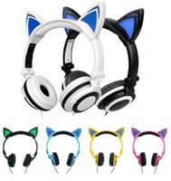 Wholesale Headband Glow - Foldable Flashing Glowing Cute Cat Ear Headphones Gaming Headset Earphone with LED light For PC Laptop Computer Mobile Phone